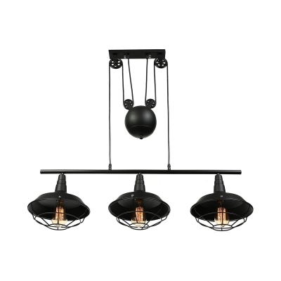 Pulley 3 Head Billiard Light in Balck Barn Shade with Wire Guard for Pool Table Kitchen Island