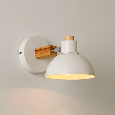 Rotatable 1 Light Dome Wall Lamp with Metal Shade Nordic Style Lighting Fixture in White