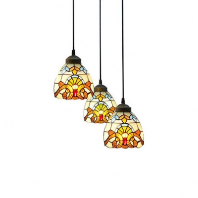 Round Base Baroque Pattern 8 Inch Multi-light  Hanging Pendant Lighting in Tiffany Stained Glass Style