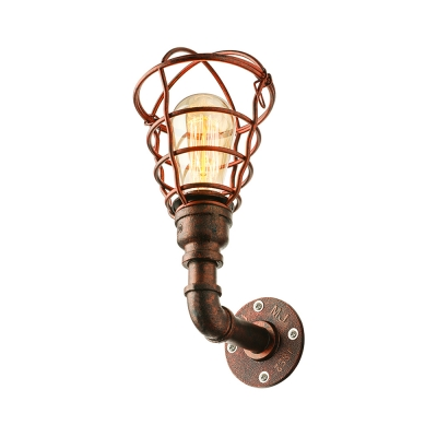 Rust Finish Caged Wall Mount Light Industrial Metal Single Light Wall Sconce for Coffee Shop
