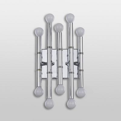 Silver Bamboo Shape Wall Sconce Stylish Designers Style Metal Multi Light LED Wall Lamp