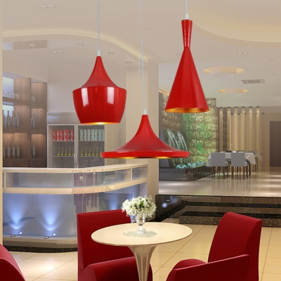 Single Light Geometric Suspended Light Modernism Aluminum Lighting Fixture in Red