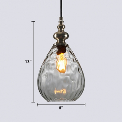 Single Light Water Drop Suspension Light Designers Style Ripple Glass Pendant Light for Foyer