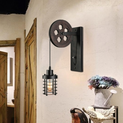 Vintage Wall Lamp with Wheel Arm and Cylinder Shade, Black