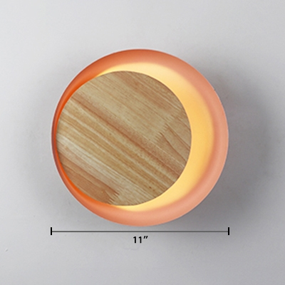 Wooden Wall Mount Fixture with Bowl Shade Modern Design Pink LED Wall Lamp for Corridor
