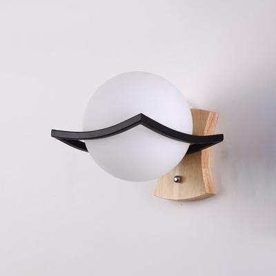 1 Bulb Orb Wall Light Sconce Nordic Modern Opal Glass Art Deco Wall Lamp in Black Finish