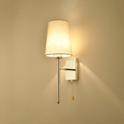 1 Head Cone Wall Lamp with Fabric Shade Contemporary Wall Sconce in Chrome for Bedside
