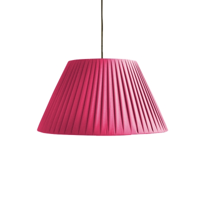 1 Head Tapered Suspended Light with Coffee/Shock Pink Fabric Shade American Retro Pendant Lamp