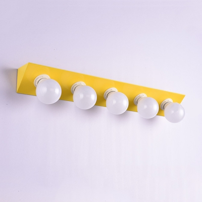 5 Light Open Bulb Wall Light Hollywood Style Colorful Mirror Light in Pink/Yellow for Dressing Room
