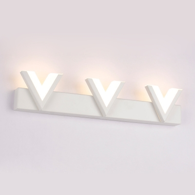 Acrylic V Shape Wall Mount Fixture Stylish Modern LED Lighting Fixture for Bathroom in White