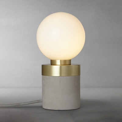 Ball Shade Table Light Concise Modern White Glass Small Night Light with Concrete Base
