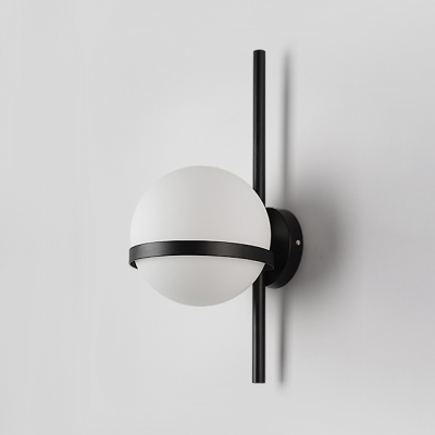 Ball Wall Light Minimalist Opal Glass 1 Light Wall Mount Fixture in Black for Hallway