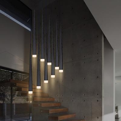 Cascade Drop Light Contemporary Glass Multi Light LED Cluster Pendant Light for Staircase