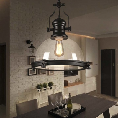 Clear Glass Dome Pendant Light in Black Finish for Kitchen Island Dining Table Restaurant