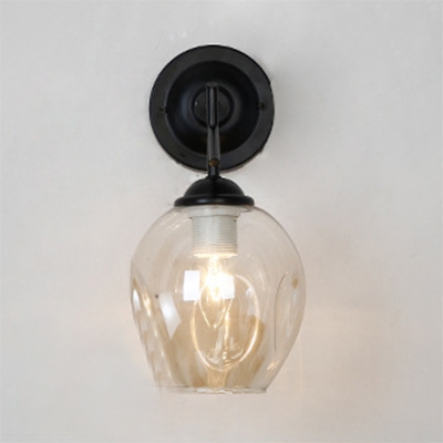 Cognac Glass Bubble Wall Light Industrial Vintage LED Wall Sconce for Bedside Staircase
