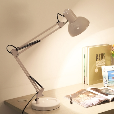 Dome Desk Lamp Modernism Iron 1 Head LED Table Lamp with Swing Arm in White for Bedroom