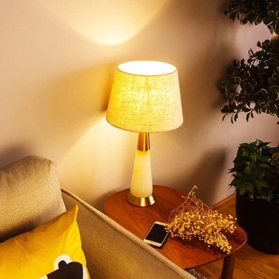 Beautifulhalo & Drum Shade Table Lamp Designers Style Fabric Night Light for Bedroom
