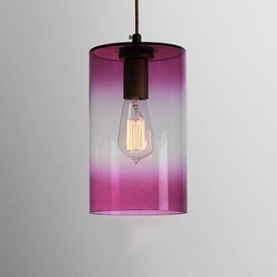 Faded Glass Geometric Suspension Light Modern Design Single Head Drop Light in Pink