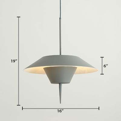 Gray Finish Umbrella Hanging Lamp Aluminum 1 Head Modern Pendant Lighting for Bedroom