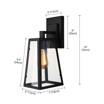 Industrial Trapezoid Wall Light in Clear Glass Wrought Iron Frame Single Light Wall Sconce in Black