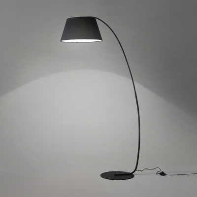 Large Arched Floor Lamp Contemporary Fabric Floor Light in Matt Black with Metal Base