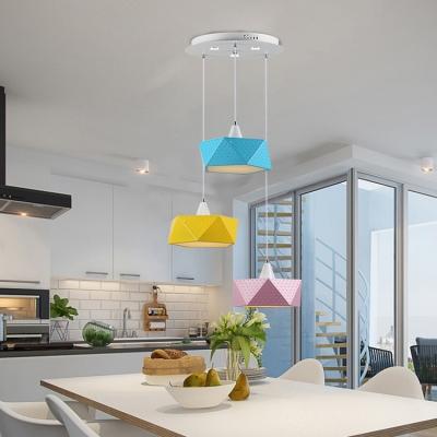 Multicolored Drum Shaped Led Pendant Lamp Nordic Macaron Multi