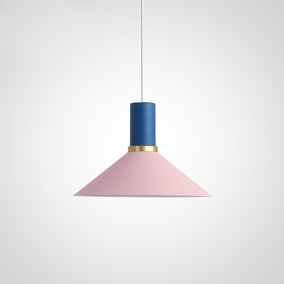 Pink Finish Cone Pendant Lamp Minimalist Metal 1 Head Drop Ceiling Lighting for Kids