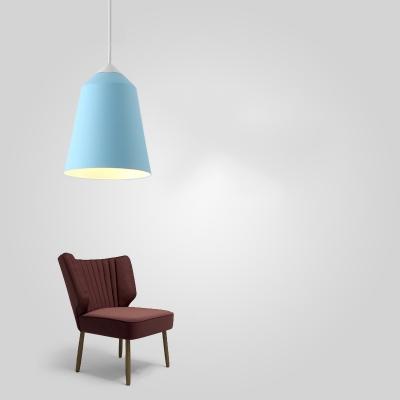 Sky Blue Bucket Pendant Lamp Macaron Simple Aluminum 1 Bulb Suspended Light for Bedroom