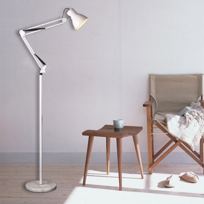White Finish Dome Standing Light Modern Design Metal Floor Lamp with Adjustable Arm