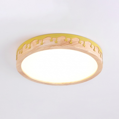 Wooden LED Lighting Fixture with Circular Shade Green/Pink/White/Yellow Flush Mount for Sitting Room