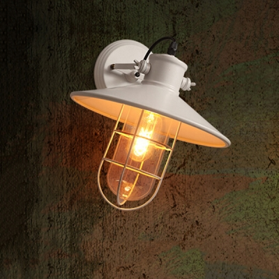 1 Bulb Metal Frame Wall Light Fixture Nautical Style Wall Light in White Finish for Courtyard Porch