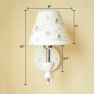 1 Head Cone Wall Sconce Rustic Style Fabric Decorative Wall Mount Light in Chrome for Porch