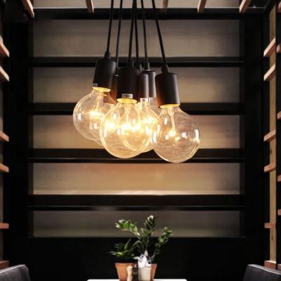 7-Light Edison Bulb LED Multi Light Pendant in Black for Dining Room Kitchen Bar Counter