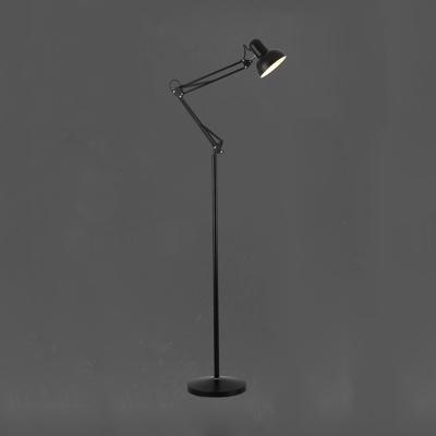 Adjustable Arm Floor Light Contemporary Metal 1 Light Standing Light in Black Finish