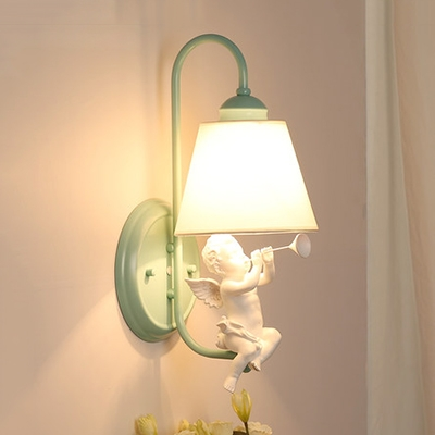 Angel Baby Wall Lamp with Cone Fabric Shade Nordic Style 1 Light Wall Light Fixture in Green