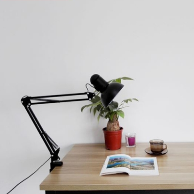 Black Finish Semicircle Desk Light Contemporary Steel Single Light Desk Lamp with Swing Arm