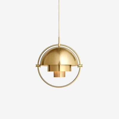 Antique Brass/Brass/Gold Finish Metal Ring Drop Light Modernism Iron Single Light Hanging Light for Living Room