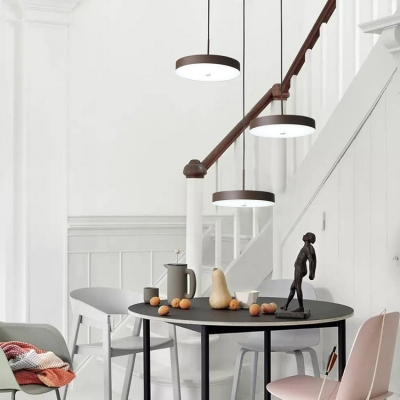 Brown Finish Round Shaped LED Pendant Ceiling Nordic Modern 3-LED Hanging Lighting for Kitchen
