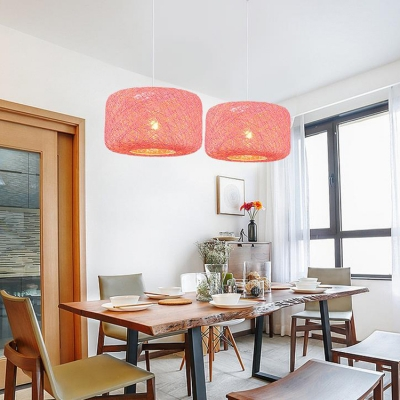 Colorful Modern Round Suspension Light Woven Single Head Ceiling Pendant Lamp for Kids
