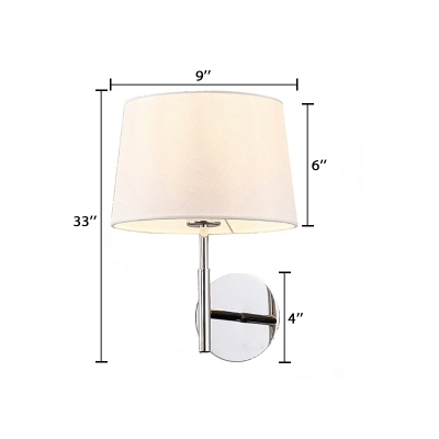 Concise Modern Armed Sconce Light with Cone Fabric Shade 1 Bulb Wall Light Fixture in Chrome