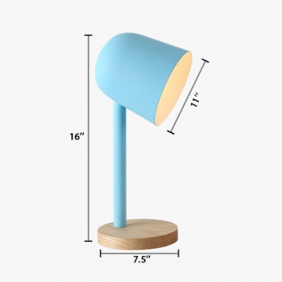 Cup Shade Desk Light Designers Style Metal Table Light in Blue/Green with Wood Base