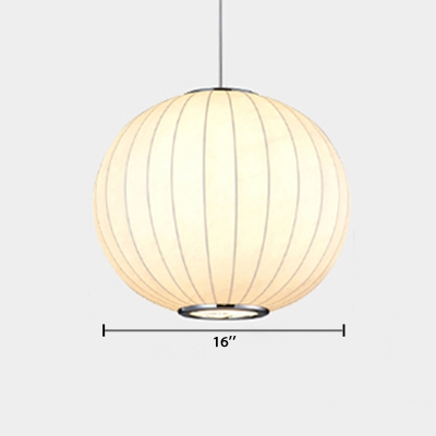 Fabric Globe Hanging Lamp Minimalist Adjustable 1 Light Suspension Light in White
