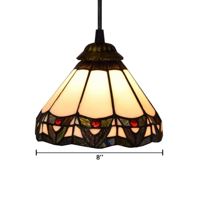 Geometric Ceiling Light with Tiffany Mission Glass Shade in Vintage Style, 8