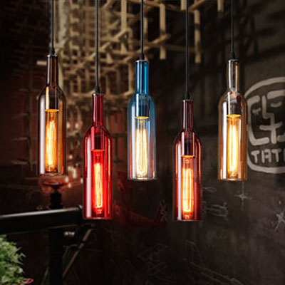 Industrial Pendant Light Liquor Bottle Repurposed