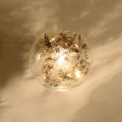 Inner Glass Shade Suspended Light with Gold Metal Flower Designer Style Single Head Pendant Light