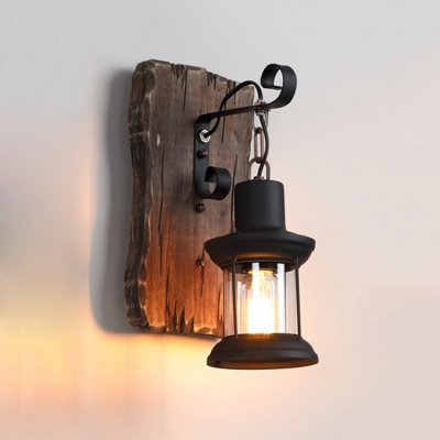 Lantern Wall Light Fixture with Rectangle Wooden Base Loft Style Single Light Sconce Light in Black