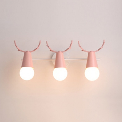 Metal Linear Wall Lighting with Antler Decoration Macaron Colorful Foyer Corridor Triple Head Sconce Light