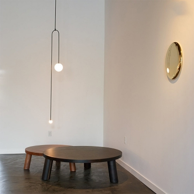 Modern Design Mobile Hanging Lamp Milky Glass 2 Heads Decorative Suspended Light in Black