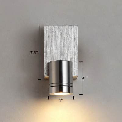 Modernism Tubed Down Light Aluminum Single Head Wall Mount Fixture in Silver for Corridor