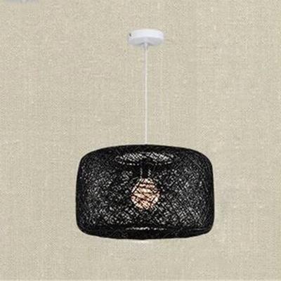 Rattan Drum Suspended Light Modern Fashion 1 Light Accent Pendant Lamp in Black